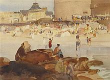 §SIR WILLIAM RUSSELL FLINT P.R.A., P.R.W.S., R.S.W., R.O.I., R.E. (SCOTTISH 1880-1969) THE CROWDED BEACH 24cm x 33cm (9.5in x 13in)