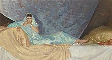 §SIR WILLIAM RUSSELL FLINT P.R.A., P.R.W.S., R.S.W., R.O.I., R.E. (SCOTTISH 1880-1969) THE DANCER LOTUS SOSHAN 21.5cm x 60.5cm (8.5i...