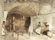 §SIR WILLIAM RUSSELL FLINT P.R.A., P.R.W.S., R.S.W., R.O.I., R.E. (SCOTTISH 1880-1969) THREE AGAINST ONE 49cm x 67cm (19in x 26in)