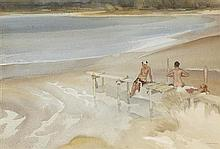 §SIR WILLIAM RUSSELL FLINT P.R.A., P.R.W.S., R.S.W., R.O.I., R.E. (SCOTTISH 1880-1969) TWO SISTERS AND A JETTY 37cm x 54.5cm (14.5in...