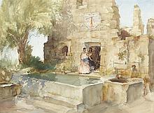 §SIR WILLIAM RUSSELL FLINT P.R.A., P.R.W.S., R.S.W., R.O.I., R.E. (SCOTTISH 1880-1969) UNDER THE SUNDIAL, COBONNE 49cm x 67cm (19in...