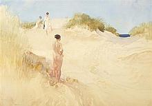 §SIR WILLIAM RUSSELL FLINT P.R.A., P.R.W.S., R.S.W., R.O.I., R.E. (SCOTTISH 1880-1969) TRACK ACROSS THE DUNES 53cm x 75cm (21in x 29...