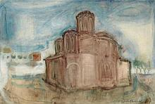 § ELIZABETH BLACKADDER C.B.E., R.A., R.S.A., R.S.W., R.G.I., D.LITT. (SCOTTISH B.1931) GREEK CHURCH 38cm x 56cm (15in x 22in)