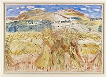§ SIR WILLIAM GEORGE GILLIES C.B.E., L.L.D., R.S.A., P.P.R.S.W., R.A. (SCOTTISH 1898-1973) HARVEST, LYNE 39cm x 57cm (15.5in x 22.5i...