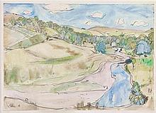 § SIR WILLIAM GEORGE GILLIES C.B.E., L.L.D., R.S.A., P.P.R.S.W., R.A. (SCOTTISH 1898-1973) NEAR BURNHOUSE 25cm x 35cm (9.75in x 13.7...