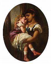 WILLIAM CRAWFORD A.R.S.A. (SCOTTISH 1825-1869) BEDTIME 76cm x 60cm (30in x 29.5in)