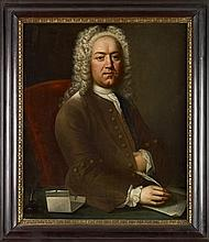 MANNER OF THOMAS HUDSON HALF LENGTH PORTRAIT OF A MAN OF LETTERS 91cm x 74cm (36in x 29in)