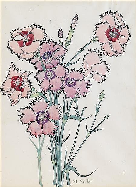 * § MARY NEWBERY STURROCK (BRITISH 1892-1985) 'CARNATIONS' 27 x 20cm (103/4 x 8in)