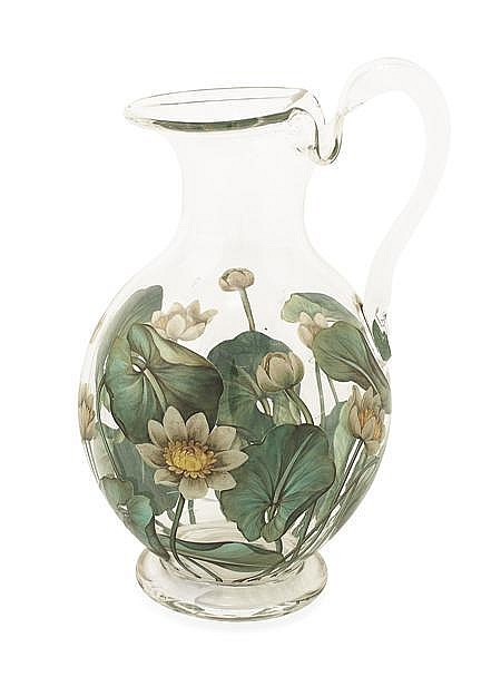 W.H.B. & J. RICHARDSON RARE GLASS WATER JUG, CIRCA 1850 23.5cm high