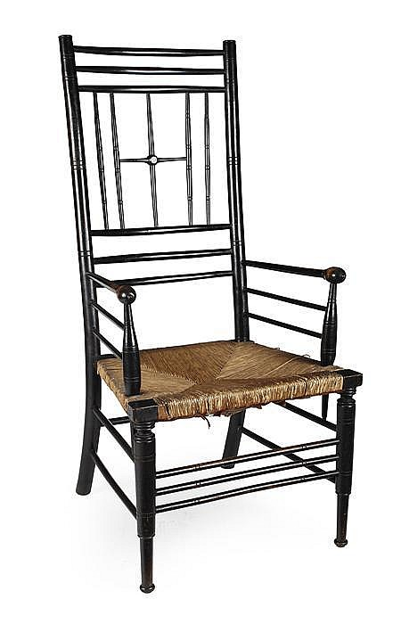 FORD MADDOX BROWN (1821-1893) FOR MORRIS & COMPANY EBONISED 'SUSSEX' ARMCHAIR, CIRCA 1880