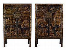 PAIR OF IMPRESSIVE BLACK LACQUER AND GILT CABINETS QING DYNASTY, 19TH CENTURY 126cm wide, 200cm high, 53cm deep