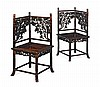 PAIR OF HONGMU CARVED CORNER CHAIRS LATE QING DYNASTY 46cm wide, 92cm high, 46cm deep