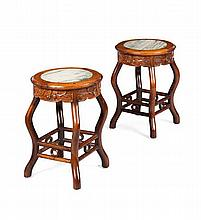 PAIR OF HARDWOOD AND MARBLE TOP STOOLS QING DYNASTY 35cm diam, 46cm high