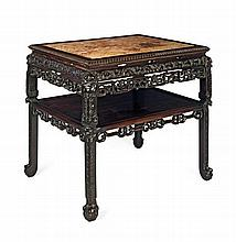 A HONGMU MARBLE TOP TEA TABLE QING DYNASTY 87cm wide, 82cm high, 67cm deep