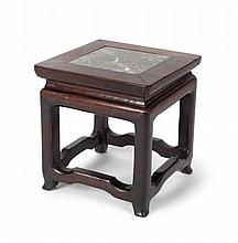 A SMALL HUANGHUALI AND MARBLE TOP STAND MID QING DYNASTY 12.5cm high