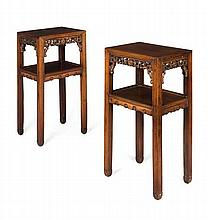 PAIR OF HUANGHUALI TEA TABLES QING DYNASTY 43cm wide, 79cm high, 33m deep