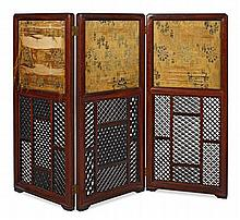 A HUANGHUALI THREE PANEL SCREEN QING DYNASTY, 19TH CENTURY 177cm wide, 132cm high