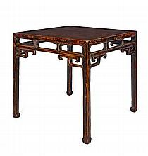 A HARDWOOD AND LACQUER TABLE QING DYNASTY, 18TH CENTURY 91.5cm wide, 83cm high, 91.5cm deep