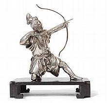 A SILVERED METAL FIGURE OF AN ARCHER LATE MEIJI / TAISHO PERIOD 23cm high