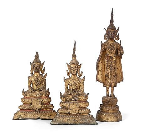 THREE THAI GILT BRONZE FIGURES 19TH CENTURY