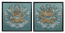 PAIR OF IMPERIAL EMBROIDERED RANK BADGES QING DYNASTY 31cm wide, 32cm high
