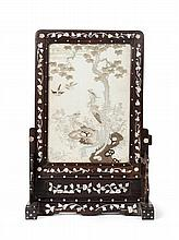 A HARDWOOD, MOTHER OF PEARL AND NEEDLEWORK TABLE SCREEN QING DYNASTY, 19TH CENTURY 34cm wide, 51cm high