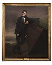 GEORGE WATSON P.R.S.A. (SCOTTISH 1767-1837) FULL LENGTH PORTRAIT OF ROBERT GRANT R.N. BESIDE A ROWING BOAT 170cm x 140cm (67in x 55i...