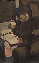 * § ANGUS NEIL (SCOTTISH 1924-1992) BOY READING 76cm x 51cm (30in x 20in)