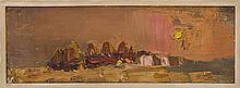 § JOAN EARDLEY R.S.A. (SCOTTISH 1921-1963) STACKS AT SUNSET 11.5cm x 33.5cm (4.5in x 13.25in)