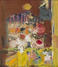 § JOHN HOUSTON O.B.E., R.S.A., R.S.W., R.G.I. (SCOTTISH 1930-2008) FLOWERS AND MOON 41cm x 36cm (16in x 14in)