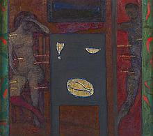 § SIR ROBIN PHILIPSON R.A., P.R.S.A., F.R.S.A., R.S.W., R.G.I., D.LITT., L.L.D.(SCOTTISH 1916-1992) FIGURES AT A TABLE 71cm x 80cm (...