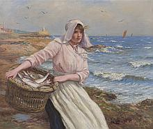 § JOHN MCGHIE (SCOTTISH 1867-1952) HOME WITH THE CATCH 62.5cm x 75cm (24.5in x 29.5in)