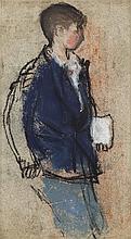 § JOAN EARDLEY R.S.A. (SCOTTISH 1921-1963) BOY IN BLUE BLAZER 26cm x 14cm (10.25in x 5.5in)