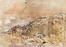 § JOAN EARDLEY R.S.A. (SCOTTISH 1921-1963) CRAGGY HILLSIDE WITH COTTAGE, COMRIE 21cm x 29cm (8.25in x 11.5in)