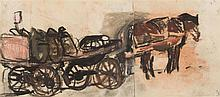 § JOAN EARDLEY R.S.A. (SCOTTISH 1921-1963) THE HORSE-DRAWN COAL CART 9.5cm x 20cm (3.75in x 8in)