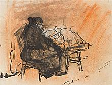 § JOAN EARDLEY R.S.A. (SCOTTISH 1921-1963) WOMAN SEATED AT A TABLE 9.5cm x 12.5cm (3.75in x 5in)