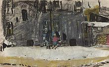 § JOAN EARDLEY R.S.A. (SCOTTISH 1921-1963) GLASGOW TENEMENT 13cm x 21.5cm (5.25in x 8.5in)