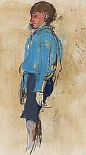 § JOAN EARDLEY R.S.A. (SCOTTISH 1921-1963) BOY IN A BLUE SHIRT 54.5cm x 30.5cm (21.5in x 12in)
