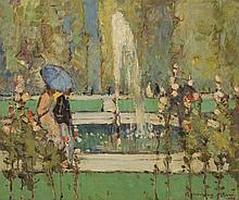 § JOHN MACLAUCHLAN MILNE R.S.A. (SCOTTISH 1886-1957) THE TUILERIES GARDENS, PARIS 51cm x 61cm (20in x 24in)