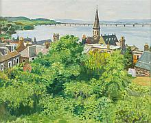 § ALBERTO MORROCCO R.S.A., R.S.W., R.P., R.G.I., L.L.D., (SCOTTISH 1917-1998) THE RIVER TAY AND TAY BRIDGE FROM NEWPORT 46cm x 56cm...