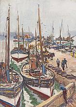 § JAMES MCBEY (SCOTTISH 1883-1959) ST. MONANCE 48.5cm x 63.5cm (25in x 19in)