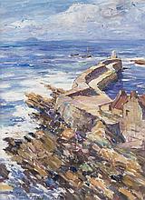 § JAMES MCBEY (SCOTTISH 1883-1959) PITTENWEEM 63.5cm x 48.5cm (25in x 19in)