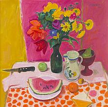 § ALBERTO MORROCCO R.S.A., R.S.W., R.P., R.G.I., L.L.D. (SCOTTISH 1917-1998) STILL LIFE WITH JAR OF FLOWERS AND WATERMELON 71cm x 71...