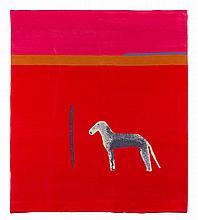 § CRAIGIE AITCHISON R.A. (SCOTTISH 1926-2009) BEDLINGTON IN RED 183cm x 147.5cm (72in x 58in)