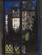 § ROBERT HENDERSON BLYTH R.S.A., R.S.W. (SCOTTISH 1919-1970) PARIS WINDOW 75cm x 57cm (29.5in x 22.5in)