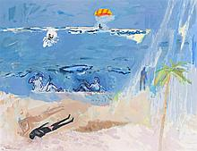 § DAVID MICHIE R.S.A., R.G.I., F.R.S.A., O.B.E. (SCOTTISH B.1928) EDGE OF THE BEACH WITH PARAGLIDER 69cm x 80cm (27.25in x 31.5in)