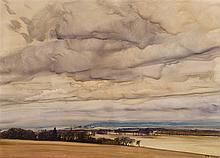 § JAMES MORRISON R.S.A., R.S.W., L.L.D. (SCOTTISH B.1932) ANGUS LANDSCAPE 76cm x 101.5cm (30in x 40in)