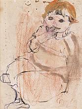 § JOAN EARDLEY R.S.A. (SCOTTISH 1921-1963) SMALL GIRL IN PINK 16cm x 12cm (6.25in x 4.75in)
