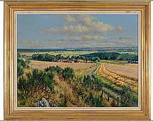 § JAMES MCINTOSH PATRICK R.S.A., R.O.I., A.R.E., L.L.D. (SCOTTISH 1907-1998) OVERLOOKING ST. ANDREWS BAY 71cm x 91cm (28in x 36in)