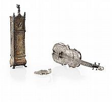 A Dutch 19th century miniature longcase clock Clock height: 16cm, combined weight 7.5oz